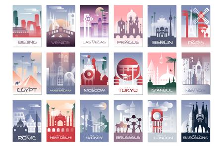 Stadtkartenset, Landschaftsvorlage von Flyer, Poster, Buchcover, Banner, Berlin, Paris, Tokio, Istanbul, Brüssel New York London Barcelona Vektorillustrationen Webdesign Vektorgrafik