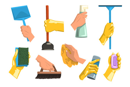 Vector collection of cleaning supplies. Human hands holding rag, plastic scoop, bottles with liquid and powder, brush, soap, sponge for dishwashing, plunger, mop. Housekeeping theme. Flat style icons.