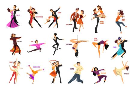 Die Berufstänzerleute, die tanzen, der junge Mann und die Frau kleideten in der eleganten Kleidung an, die Tänze durchführt, vector die Illustrationen, die auf einem weißen Hintergrund lokalisiert werden.
