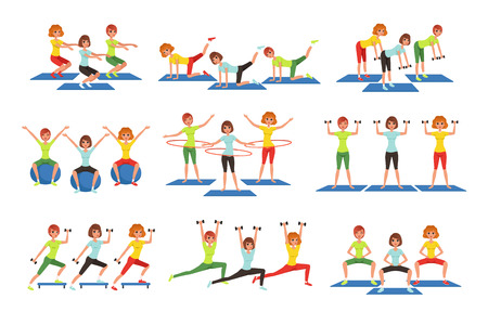 Set of people working out in gym or fitness center. Young girls and guys doing exercises. Physical activity. Healthy lifestyle. Men and women in sportswear. Flat vector illustration isolated on white.