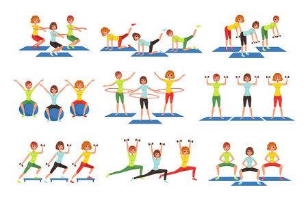 Zestaw osób ćwiczących w siłowni lub centrum fitness. Młode dziewczyny i chłopaki ćwiczą. Aktywność fizyczna. Zdrowy tryb życia. Mężczyźni i kobiety w odzieży sportowej. Płaskie wektor ilustracja na białym tle.