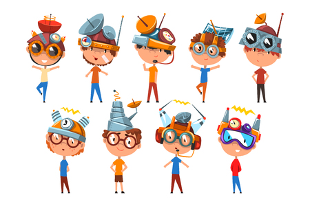Scientist children working on physics science experiment set, boy in fantastic headdress with antennas vector Illustrations isolated on a white background. Stock fotó - 125592998