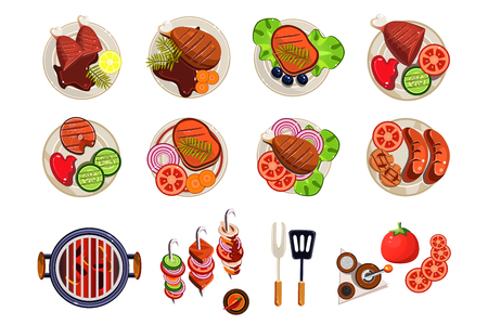 Grill with hot coals, kitchen utensils for cooking and various grilled dishes. Sausages, chicken, steak, fish with vegetable garnishes. Design for cafe or restaurant menu. Isolated flat vector icons.