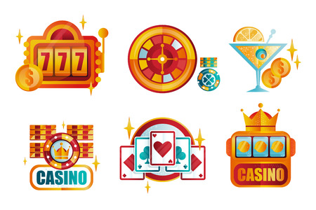 Vector set of original retro templates for royal casino poker club. Gambling emblems. Elements for mobile app or professional tournament promo Çizim