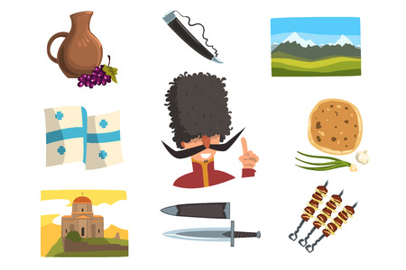 Vector set of elements of Georgia. Ceramic pitcher of wine, drinking horn, Caucasian man, mountain landscape, national flag, dagger, khachapuri and grilled kebabs, Orthodox church. Icons in flat style