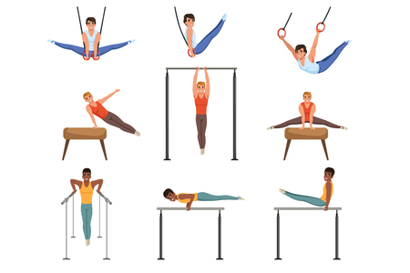 Young guys training on various gymnastics apparatus. Rings, pommel horse, horizontal and parallel bars. Individual sport. Professional athletes. Cartoon people characters. Flat vector set. Illustration