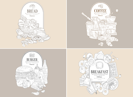 Sketch composition of basket with bakery goods and place for text. Breads, loaves, buns, rolls, croissants, bagels. Natural products. Hand drawn vector design for bakehouse, grocery store, recipe book 일러스트