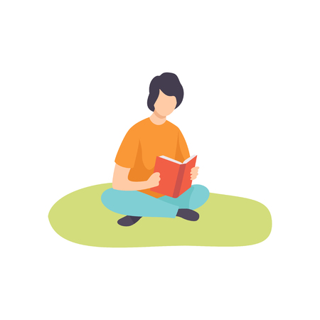 Young man Sitting on Grass with Crossed Legs and Reading Book, Guy Relaxing on Nature Vector Illustration on White Background.