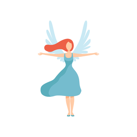 Beautiful Young Woman with Wings, Freedom, Civil Rights, Independence Vector Illustration on White Background.