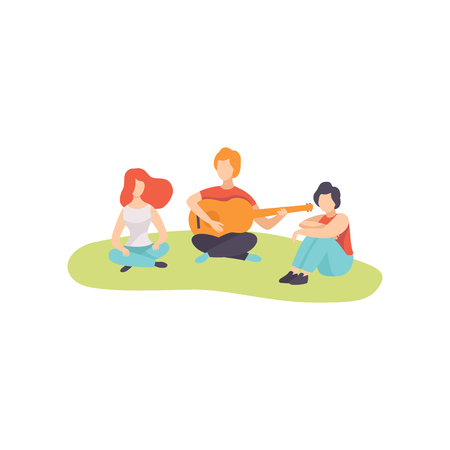Young Man Playing Guitar to His Friends on Picnic, People Relaxing on Nature Vector Illustration on White Background.