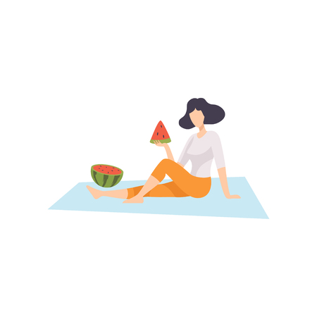 Young Woman Sitting on Plaid and Eating Watermelon, Girl Relaxing on Nature Vector Illustration on White Background. Archivio Fotografico - 125555696