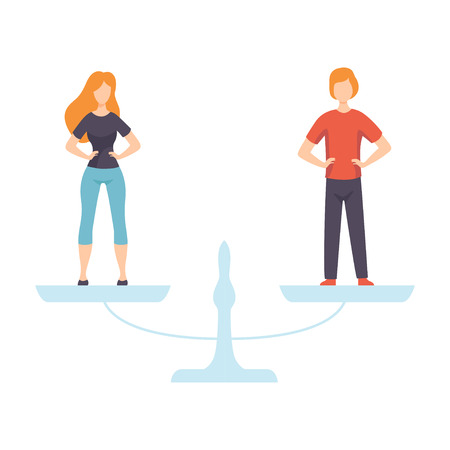 Young Man and Woman Standing on Scales, Equal Rights of People, Gender Equality in Society Vector Illustration 向量圖像