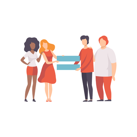 Gendergelijkheid in de samenleving, gelijke rechten van mensen vectorillustratie Vector Illustratie