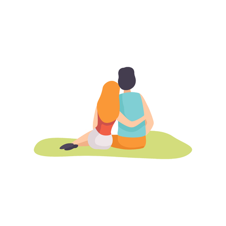 Romantic Couple Sitting on Grass on Nature, Back View Vector Illustration on White Background.