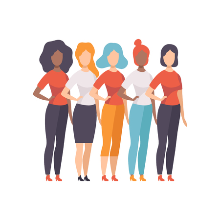 Girls of Different Nationalities and Cultures, Girls Advocating for Gender Equality, Freedom, Civil Rights, Independence Vector Illustration on White Background.