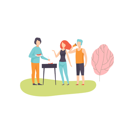 People Having BBQ Picnic on Nature, Friends Eating and Cooking Meat on Barbecue Grill Vector Illustration on White Background.