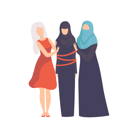 Women Supporting Tied Muslim Woman in rational lothes, Girls Advocating for Equality, Freedom, Civil Rights, Independence Vector Illustration on White Background. Illusztráció