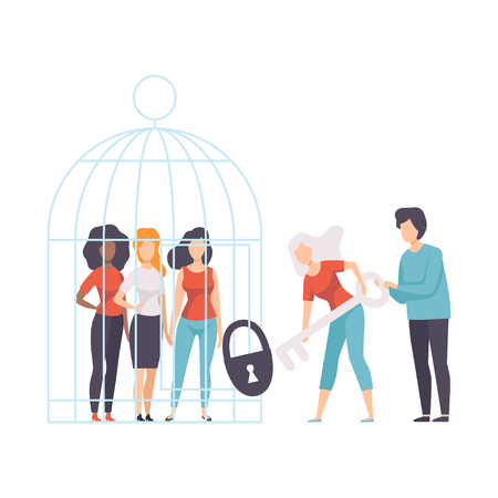 Women Opening Cage with Young Women Who Sitting Inside, Girls Advocating for Gender Equality, Freedom, Civil Rights, Independence Vector Illustration on White Background.