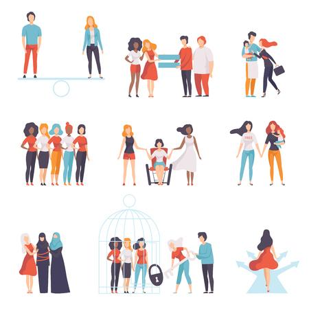 Gleichstellung der Geschlechter in der Gesellschaft, junge Frauen verschiedener Nationalitäten, die sich gegenseitig unterstützen, Mädchen, die sich für die Gleichstellung der Geschlechter, Freiheit, Bürgerrechte, Unabhängigkeitsvektorillustration auf weißem Hintergrund einsetzen.