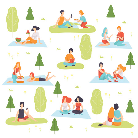 Young Men and Women Having Picnic Set, People Relaxing on Nature Vector Illustration on White Background. Ilustracja