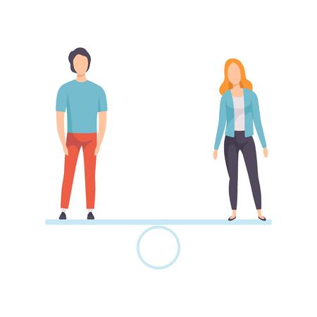 Uomo e donna in piedi sulla bilancia, pari diritti delle persone, uguaglianza di genere nella società illustrazione vettoriale
