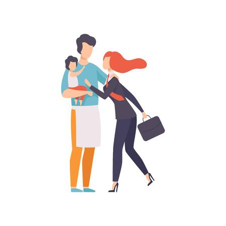 Papá con bebé reunión madre después del trabajo, ama de casa y mujer de negocios, igualdad, libertad, derechos civiles, independencia ilustración vectorial