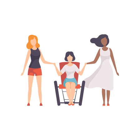 Young Woman of Different Nationalities Holding Hands, Girls Advocating for Equality, Freedom, Civil Rights, Independence Vector Illustration on White Background.