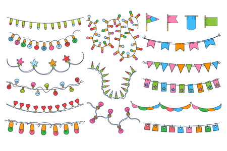 Colorful bunting, party flags, festival, birthday, holiday decoration vector illustration Illustration