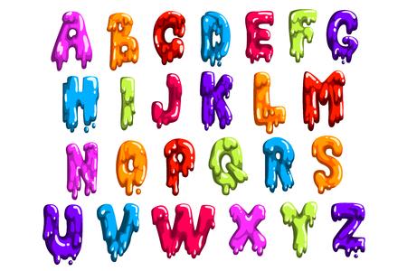 Alfabeto latino de colores brillantes hecho de jalea dulce o mermelada. Letras en inglés de la A a la Z.Fuente vectorial de dibujos animados para impresión, póster o tarjeta