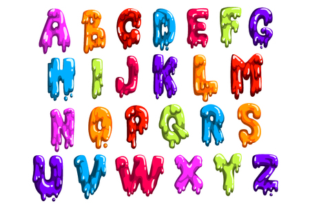 Bright-colored latin alphabet made of sweet jelly or jam. English letters from A to Z. Cartoon vector font for print, poster or card