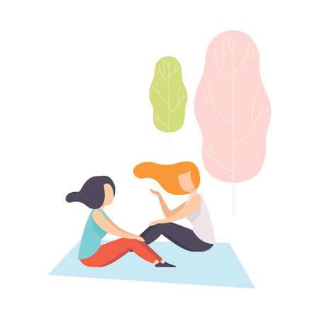 Two Girls Sitting on Plaid in Park, Young Women Having Picnic Vector Illustration on White Background. Archivio Fotografico - 125555719
