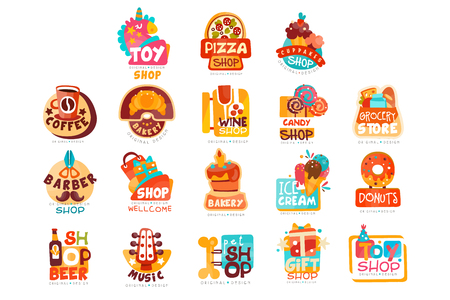 Collection of various shops templates set, emblem for cupcake, candy, pizza, ice cream, donut, gift and toy market vector Illustrations on a white background