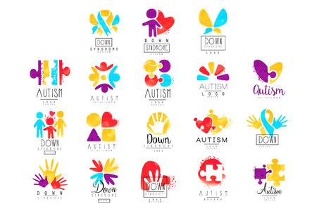 Wektor zestaw wielobarwnych na dzień świadomości autyzmu. Projektuj pocztówki, centra odnowy biologicznej, organizacje pomagające osobom z zespołem Downa