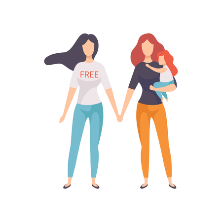 Girls Holding Hands, Young Women Advocating for Gender Equality, Freedom, Civil Rights, Independence Vector Illustration  イラスト・ベクター素材