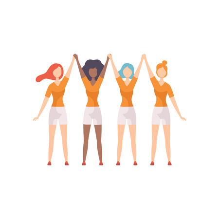 Young Women of Different Nationalities Standing with Raised Hands, Girls Advocating for Gender Equality, Freedom, Civil Rights, Independence Vector Illustration on White Background.