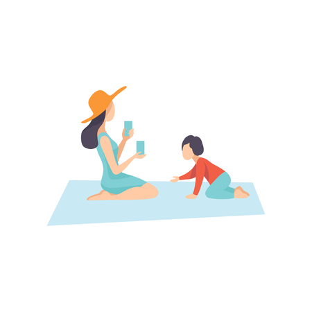 Mother and Her Little Son Sitting on Plaid, Family Having Picnic Outdoors Vector Illustration on White Background.