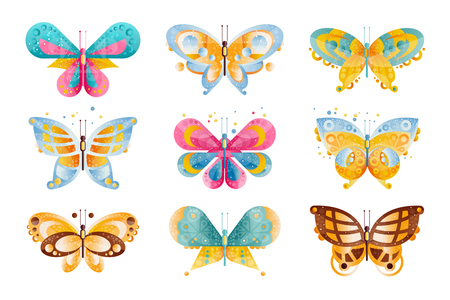 Flat vector set of brightly colored butterflies with beautiful wings. Flying insects. Icons with gradients and texture. Illustration