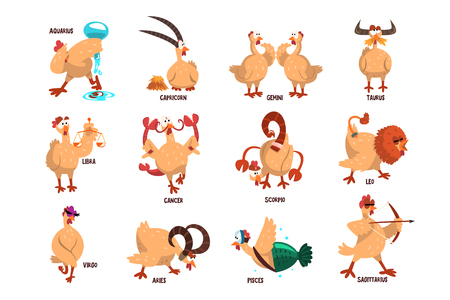 Funny farm chicken showing 12 Zodiac signs. Domestic bird in different actions. Comic horoscope. Flat vector set