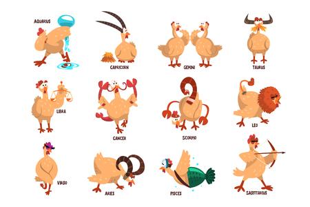 Grappige boerderijkip met 12 sterrenbeelden. Binnenlandse vogel in verschillende acties. Komische horoscoop. Platte vector set Vector Illustratie