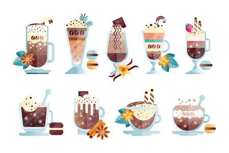 Set of tasty coffee drinks in transparent cups and glasses. Delicious hot and chilled beverages with macaroons, candy canes, strawberry. Design for cafe or restaurant menu. Isolated flat vector icons.
