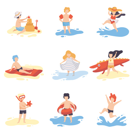Collection of Cute Kids in Bathing Suits Playing and Having Fun on Beach on Summer Holidays Vector Illustration Illustration