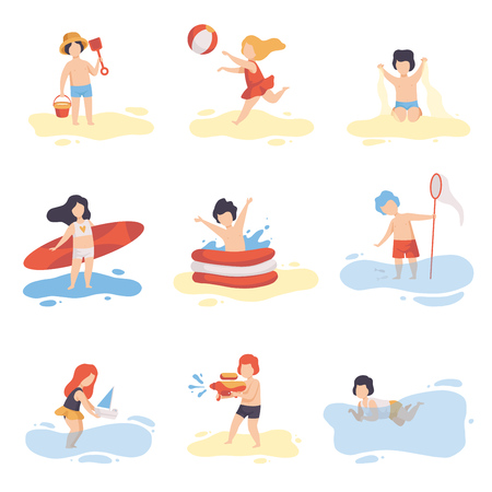Collection of Cute Boys and Girls in Bathing Suits Playing and Having Fun on Beach on Summer Holidays Vector Illustration Illustration