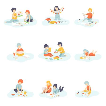 Boys and Girls Sitting on Floor Painting, Cutting, Drawing, Modelling from Plasticine, Kids Creativity, Education, Development Vector Illustration on White Background.