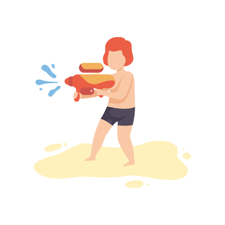 Cute Boy Playing with Water Gun on Beach on Summer Holidays Vector Illustration