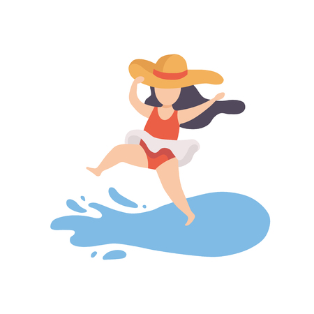 Cute  Girl Wearing Swimsuit and Hat Having Fun on Beach on Summer Holidays Vector Illustration Illusztráció