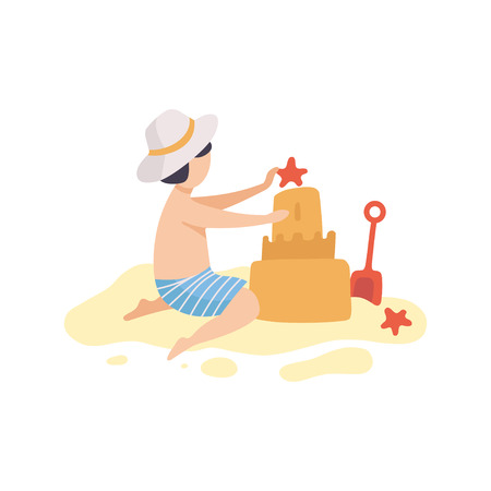 Cute Boy Building Sandcastle, Kid Playing on Beach on Summer Holidays Vector Illustration Illustration