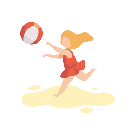 Cute Girl in Swimsuit Playing with Ball, Kid Having Fun on Beach on Summer Holidays Vector Illustration on White Background. Illustration
