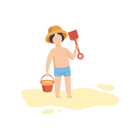 Cute Boy Wearing Hat and Shorts Standing with Bucket and Shovel, Kid Playing on Beach on Summer Holidays Vector Illustration on White Background.