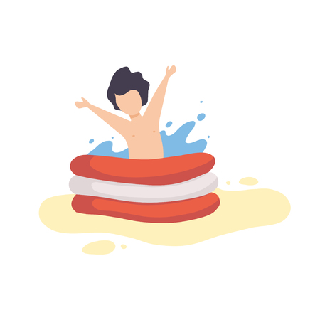 Cute Boy Playing in Inflatable Pool, Kid Having Fun on Beach on Summer Holidays Vector Illustration on White Background.