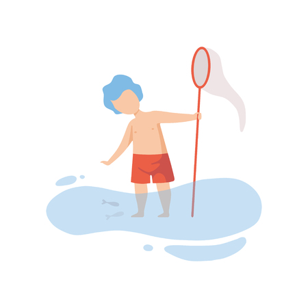 Cute Boy Standing in Water and Playing with Fishing Net, Kid Having Fun on Beach on Summer Holidays Vector Illustration on White Background.